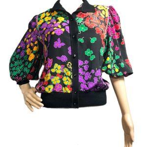 Vintage oriental floral Polyester blouse Medium